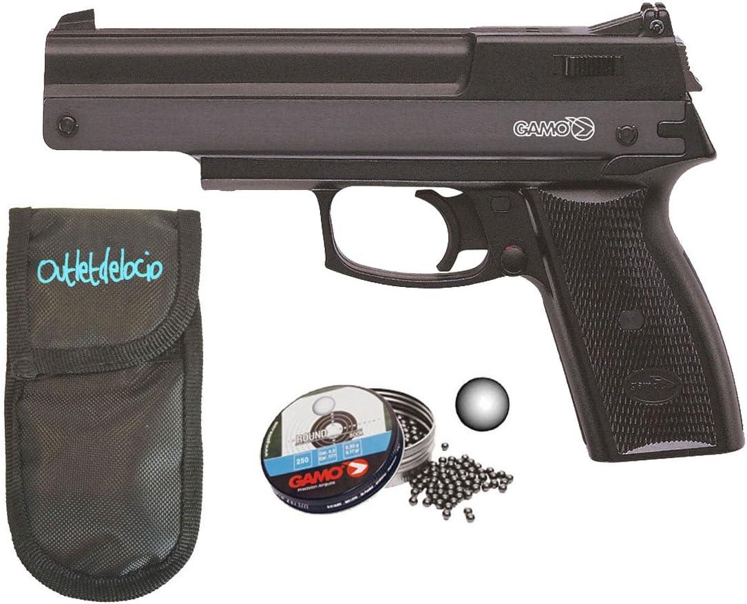 Pack Pistola perdigón Gamo AF-10 4,5mm. Carga manual (no necesita botellas de gas Co2). + Funda Portabalines + Balines. 37538/50523/23054