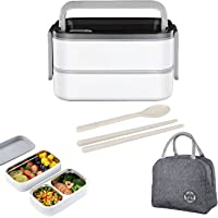 Lunch Box with Tableware ,1400ml Insulated Lunch Box for Kids/Adults,2-Layer Bento Lunch Box with Nylon Insulation Bag…