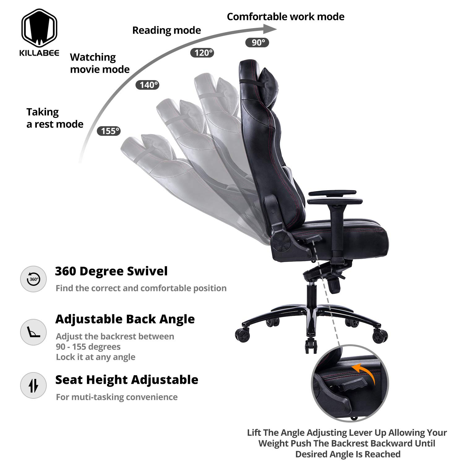 KILLABEE Big and Tall 400lb Memory Foam Gaming Chair - Adjustable Tilt, Back Angle and 3D Arms Ergonomic High-Back Leather Racing Executive Computer Desk Office Chair Metal Base, Black by KILLABEE (Image #2)