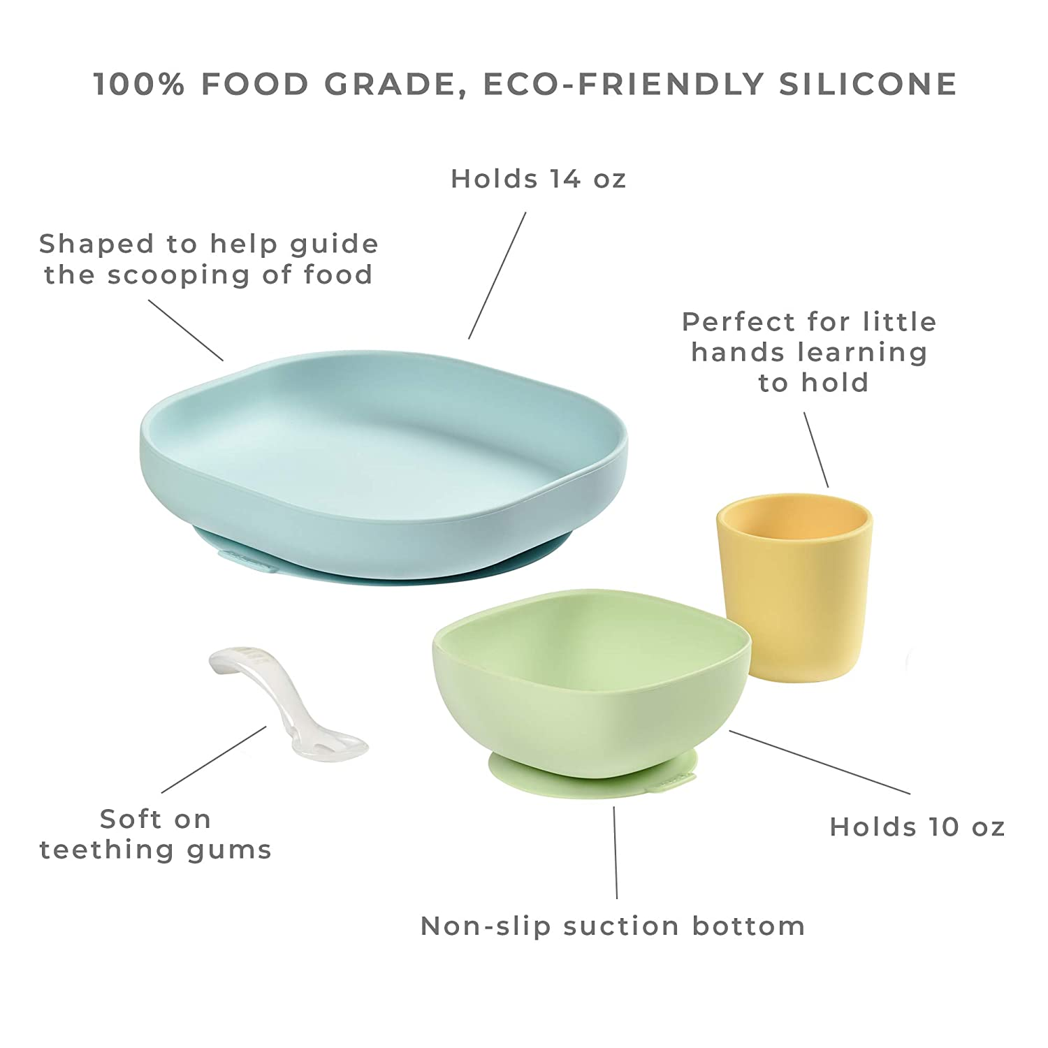 Bowl Set of 4 Pieces : Plate High Quality Silicone with Strong Suction pad Baby and Children Cup B/éaba Silicone Feeding Meal Set Jungle Spoon
