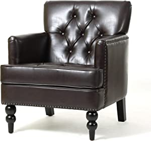 Christopher Knight Home Tufted Club Chair, Decorative Accent Chair with Studded Details – Brown