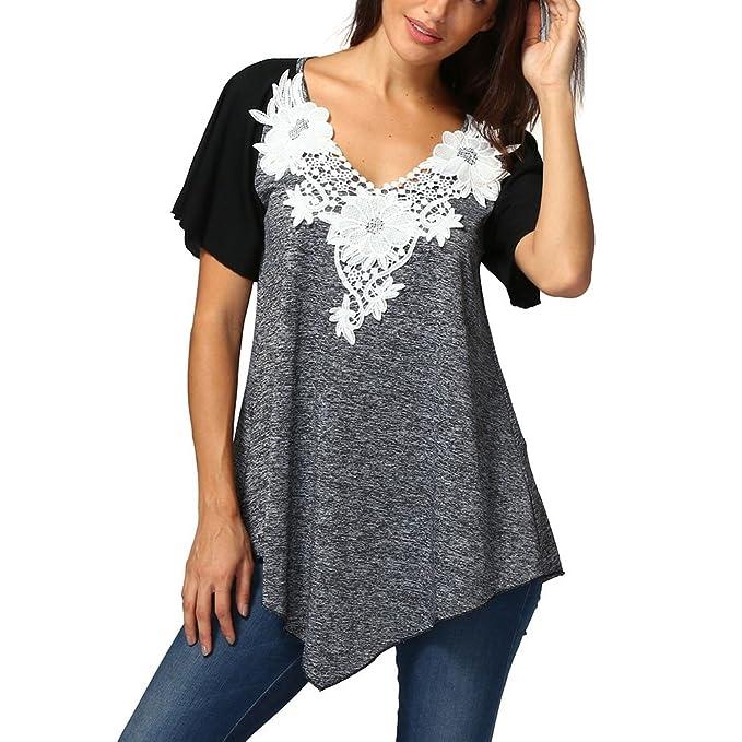 96e1b448e0ec Weant Abbigliamento Donna Tshirt,Maglietta Donne Manica Taglia Grande  Colori Misti Pizzo Tops Orlo Irregolare Manica Cime Camicie Camicetta Blusa  Sciolto ...