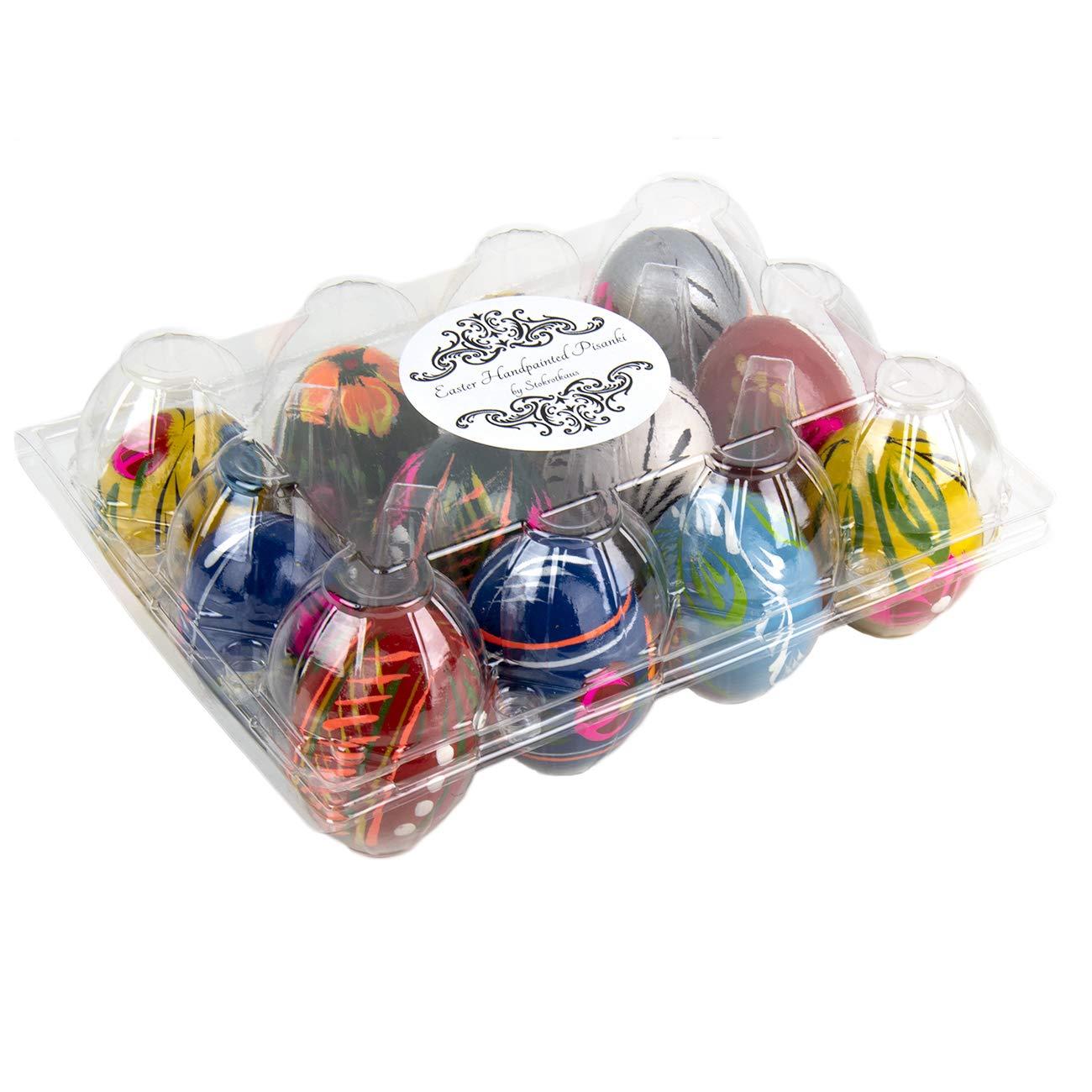 STOKROTKAUS Wooden Easter Pisanki Polish Painted Decorative Eggs in Box 12
