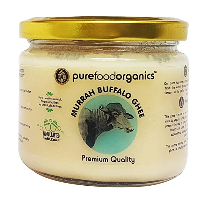 PureFoodOrganics Murrah Buffalo Ghee - 250ml - Made from Murrah Buffalo  Milk (Traditional Hand-churned)