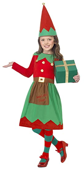 2d836dd2d Smiffys Children's Santa's Little Helper Costume, Dress and Hat, Color:  Green and Red