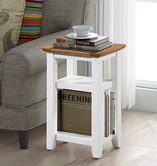 Clifton - Mesa auxiliar de madera de roble pintada para café ...