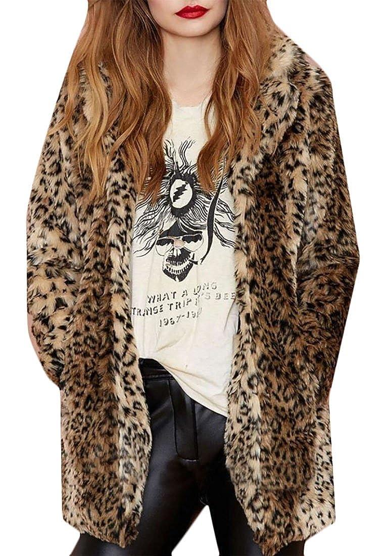 1 Alion Women Autumn Leopard Print Casual Open Front Loose Faux Fur Hooded Coat