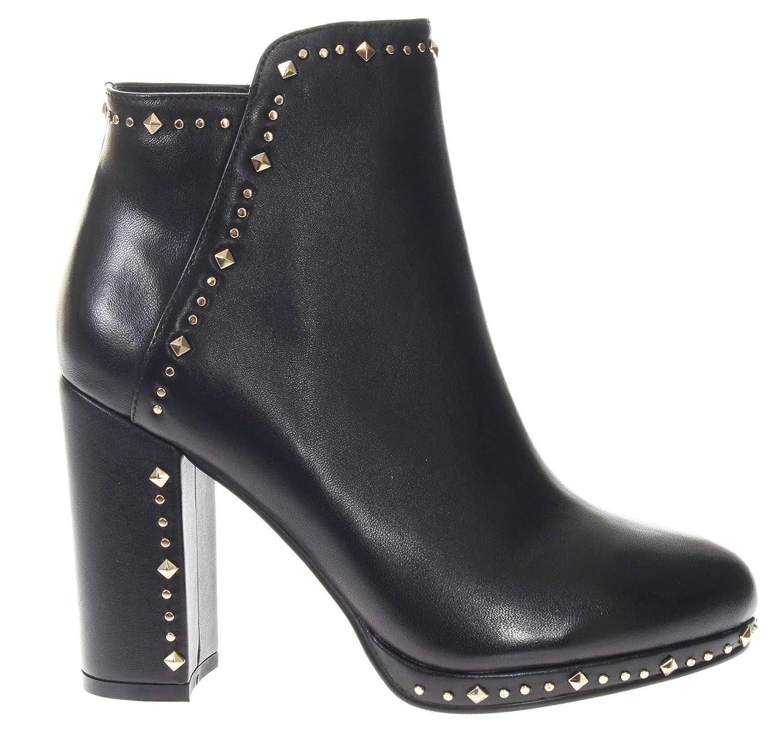 CAF schwarz LB211 Schwarze Schuhe Frau Halbstiefel Halbabsatz Plateau Nieten Reißverschluss