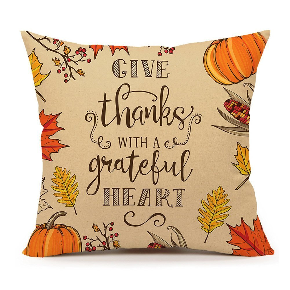 Acelive Vintage Thanksgiving Day Burlap Cushion Covers Pillow Case (16 x 16 Inches) FKDLG45