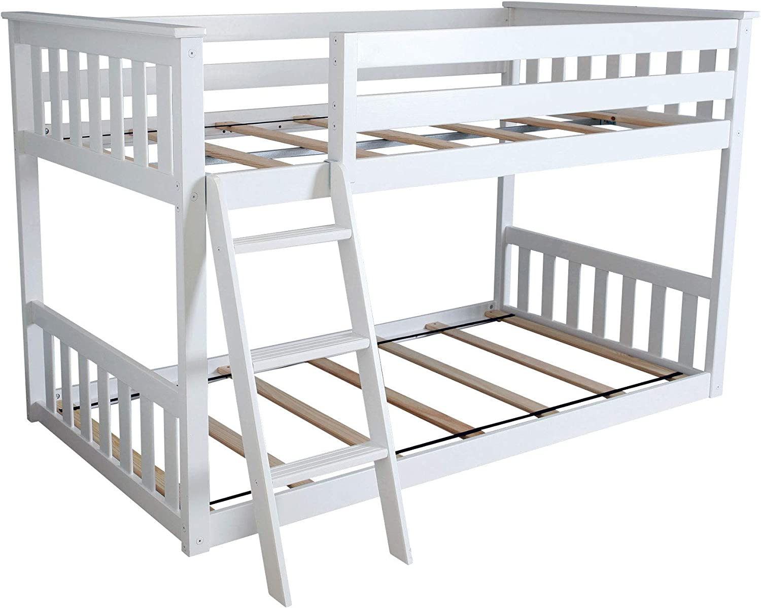 Max Lily Twin over Twin Low Bunk Bed, White