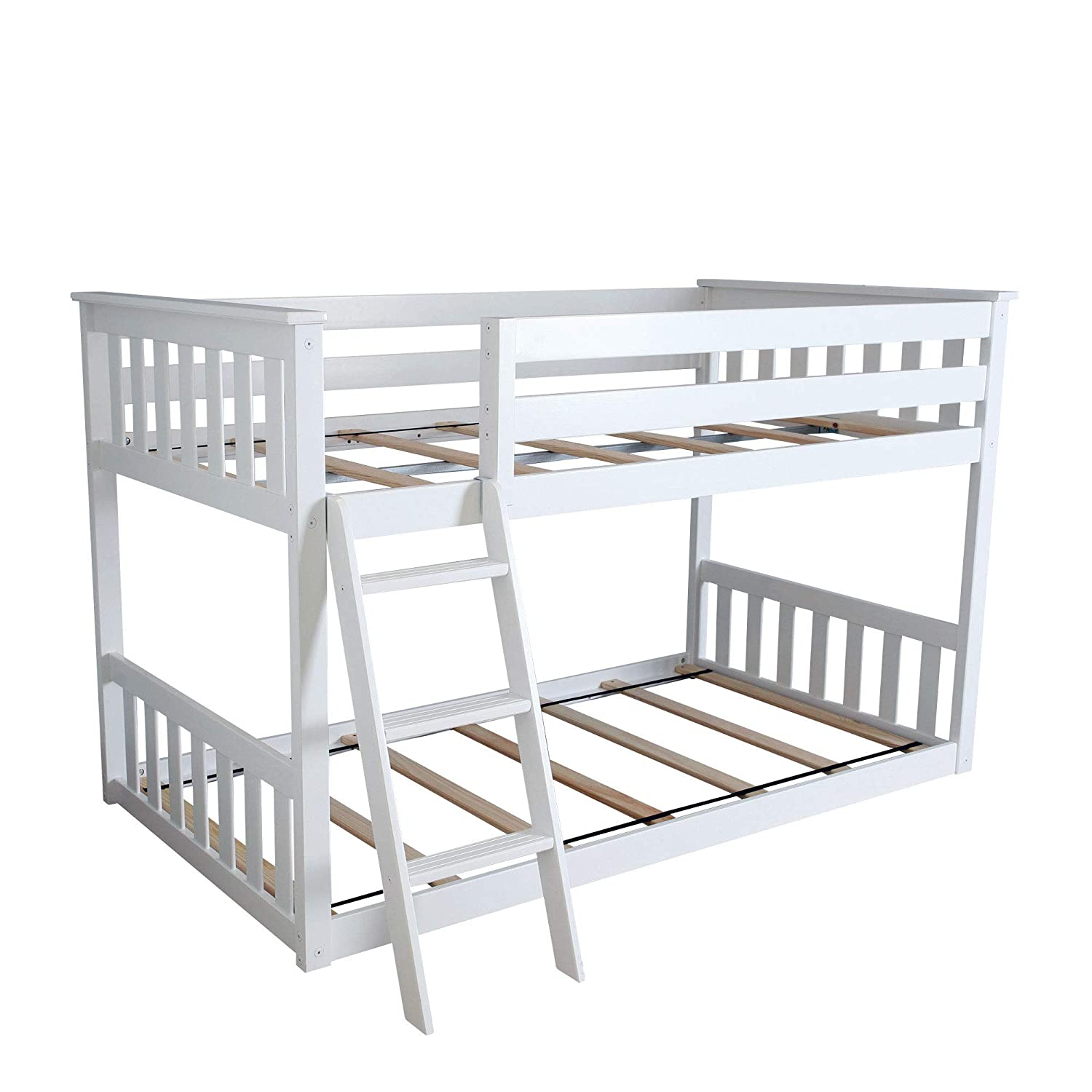 Max & Lily Twin Over Twin Low Bunk Bed, White by Max & Lily