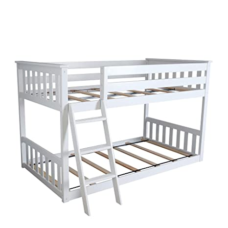 Amazon Com Max Lily Twin Over Twin Low Bunk Bed White Kitchen