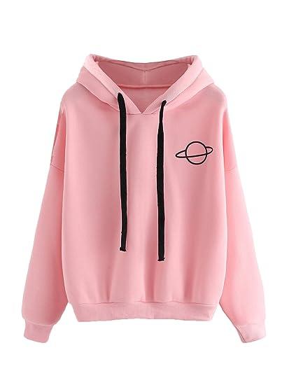 beliebt kaufen 5e718 16dab DIDK Damen Kapuzenpullover Lagarm Sweatshirt Oberteile Hoodie mit  Planetmuster Rosa XXL