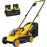 AchiForce Cordless Lawn Mower, 13-Inch 40 V Brushless Lawn Mower, 5 Mowing Heights, 8 Gallon Grass Bag, 2 x 4 Ah Batteries an