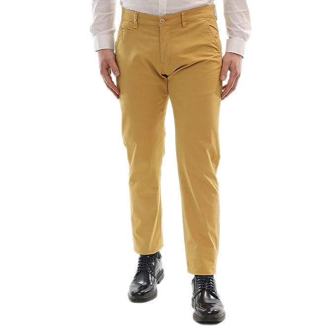 d214c91227 Pantaloni Uomo Elegante Estivi Leggeri Chino Cotone Leggero Slim Fit Tasca  America Primaverile Senape Classico Pantalone Casual 44 46 48 50 52 54: ...