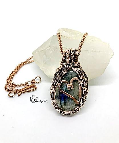Amazon.com: handmade labradorite heart wire wrapped pendant necklace ...