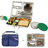 PlanetBox ROVER Eco-Friendly Stainless Steel Bento Lunch Box with 5 Compartments for Adults and Kids - Blue Carry Bag with Dinosaurs Magnets