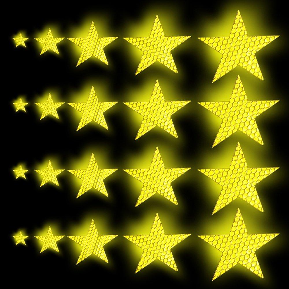 Tuqiang Forma a stella Nastro Riflettente Autoadesiva per abbigliamento Zaino e passerella Nastro ad alta visibilit/à Adesivo riflettente per la sicurezza esterna 25 Pezzi Verde