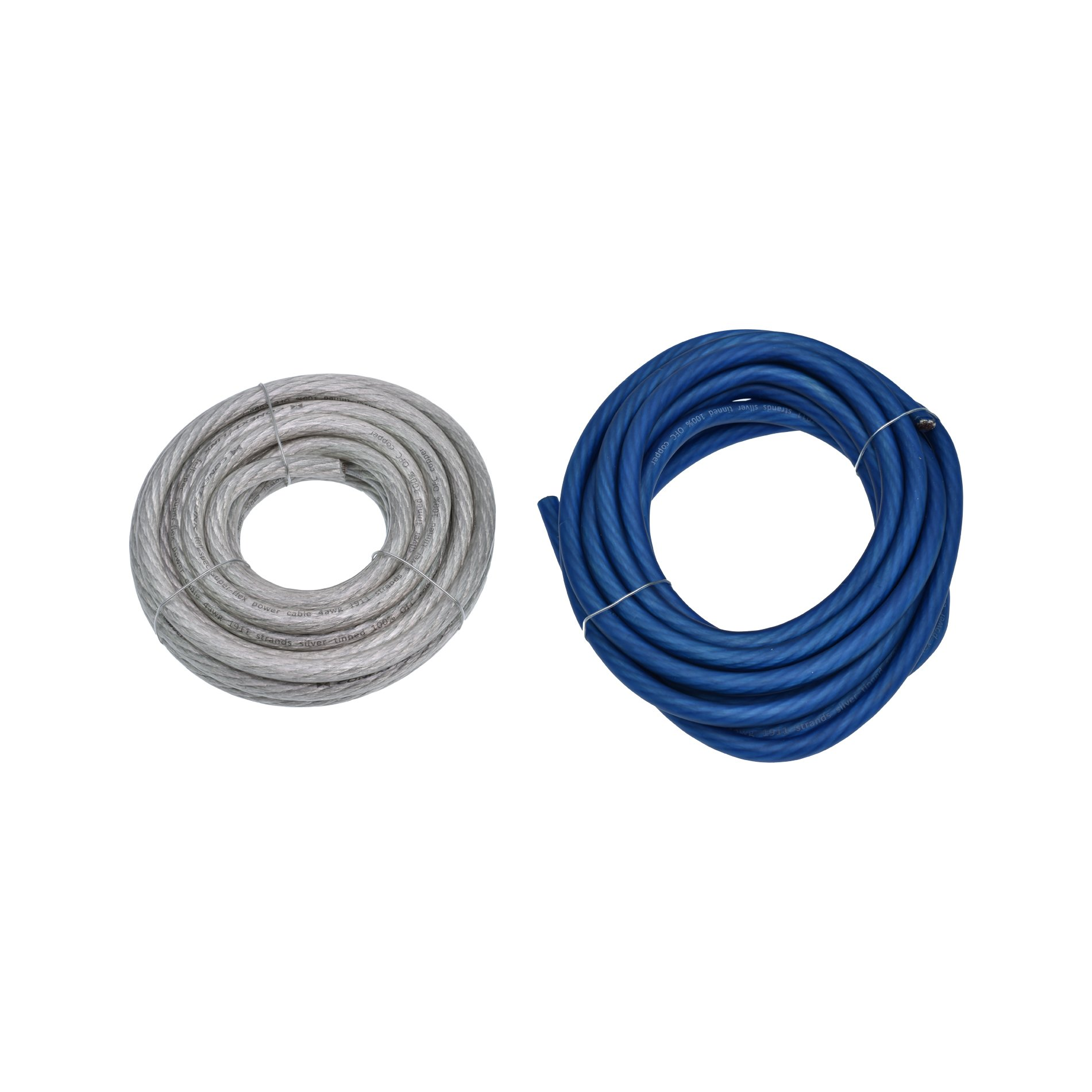 Conext Link 40 FT 4 AWG GA Full Gauge Battery Power Cable Ground Wire OFC Copper Frost Blue and Clear Silver Each 20ft