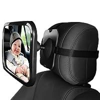 Home-neat Siège arrière miroir–vue arrière bébé Miroir de siège de voiture en bébé et maman–Large convexe en verre incassable et Entièrement assemblé–Crash testé et certifié pour la sécurité