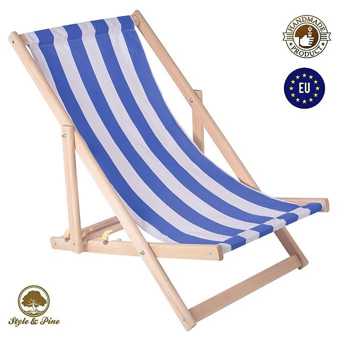 Amazinggirl Tumbona Plegable de Madera - Relax Tumbona para jardín para balcón Silla de Playa con Funda de Tela Intercambiables Azul