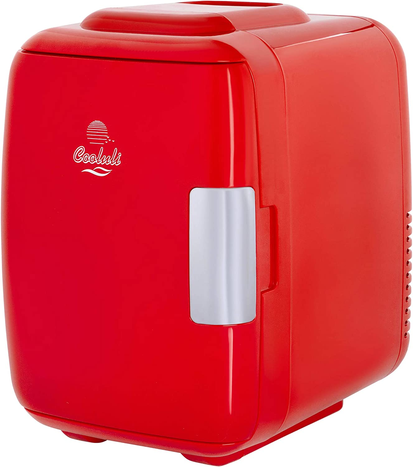 B079G4Z3GQ Cooluli Classic Red 4 Liter Compact Cooler Warmer Mini Fridge with AC/DC/USB Power - Great for Bedroom, Office, Car, Dorm - Portable Makeup Skincare Fridge 71hWRNiSlUL