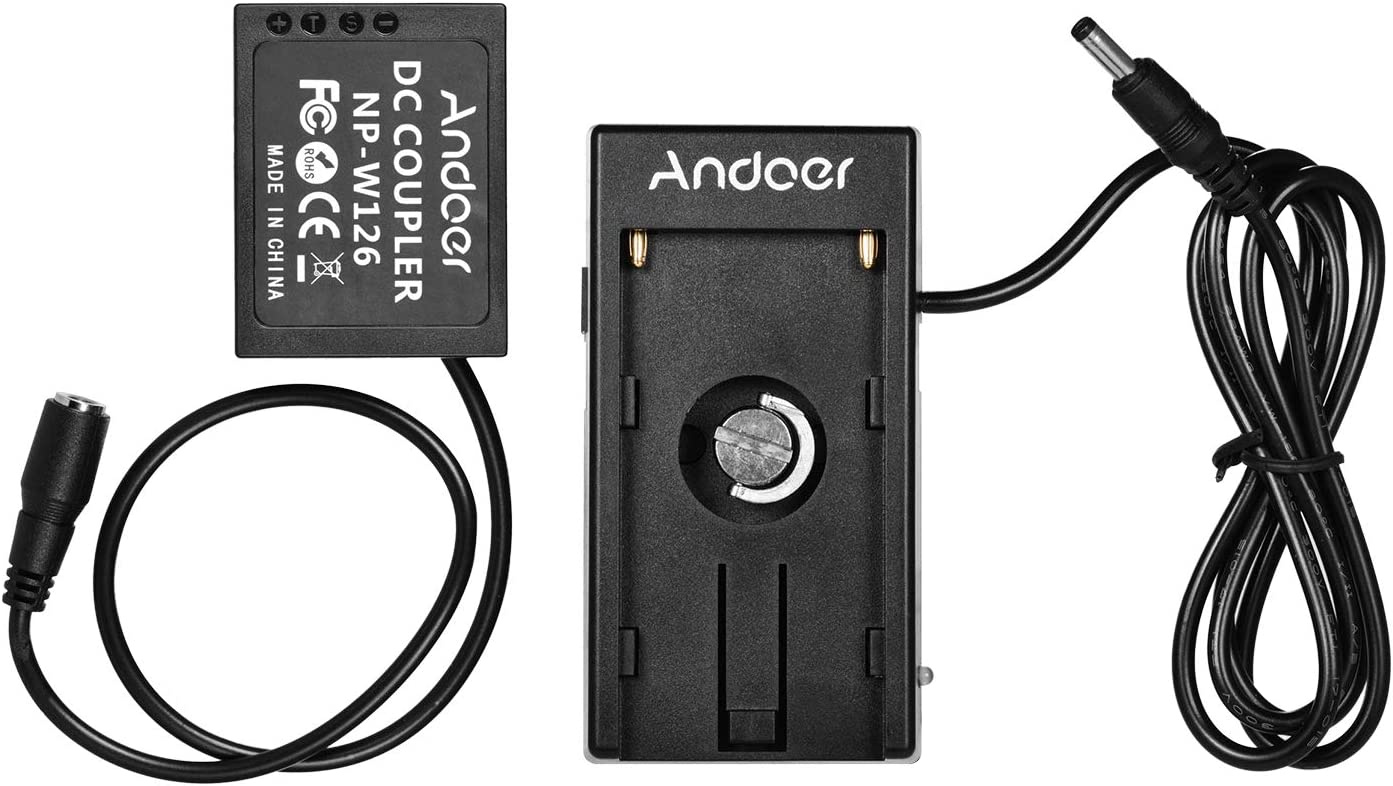 Andoer NP-W126 Dummy Battery Coupler with Straight Cable NP-F970 F750 Battery Plate Holder Compatible for Fuji Cameras X-A1//X-A2//X-A3//X-E1//X-E2//X-M1//X-Pro//X-T1//X-T2//X-T10//HS33EXR//HS35EXR//HS50EXR