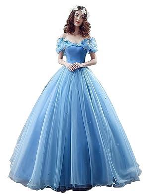Guqier Dress Organza Cosplay Cinderella Dress Long Quinceanera Gown
