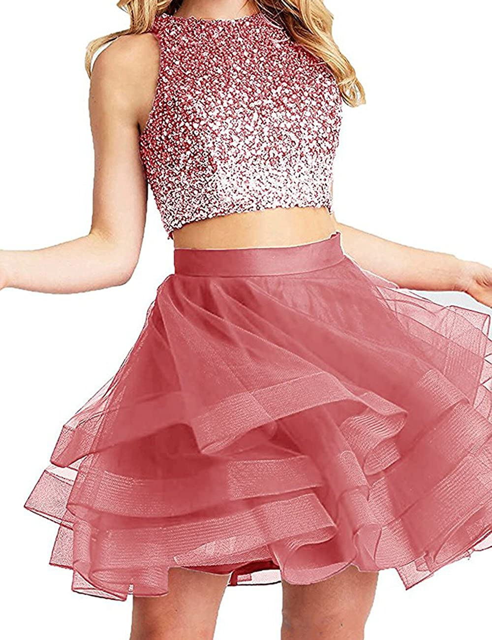 Coral Beautydress Two Pieces Short Prom Gowns Top Beaded Girls Homecoming Dress