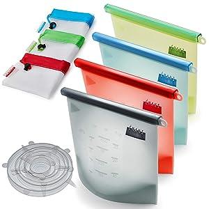 Emani Reusable Silicone Food storage Bags [SET OF 16] | Airtight Seal Food Preservation Bag | Package includes 4 Food Silicone bags + 6 Silicone Stretch Lid + 6 Reusable Mesh Produce Bag