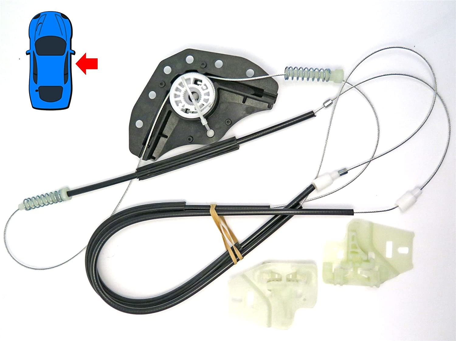 Front Right//Drivers Side E46 Window Regulator Repair Kit winder and clips Includes cables