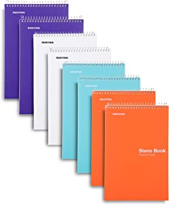 Mintra Office Steno Book - 6x9 - BRIGHTS - 8 Pads/Pack - Narrow Ruled - Poly Cover (Purp/Wht/Teal/Orange) 100 Sheets - Notebook for writing notes in school, university, college, work, office