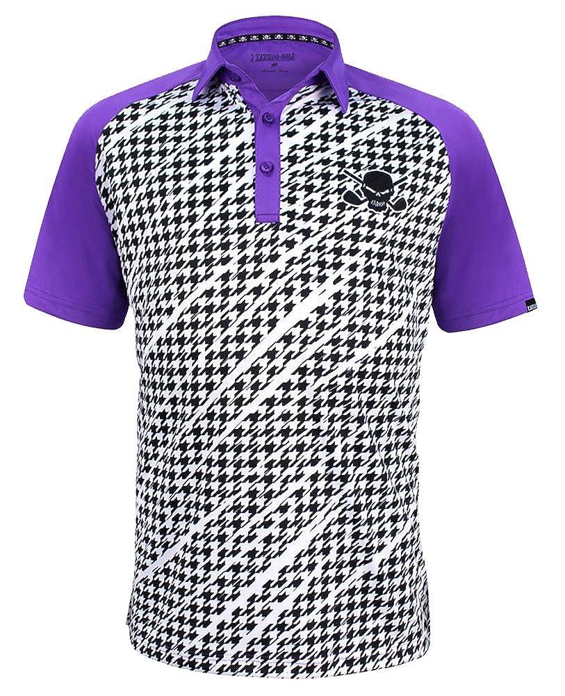 Amazon Tattoogolf Houndstooth Print Procool Mens Golf Shirt