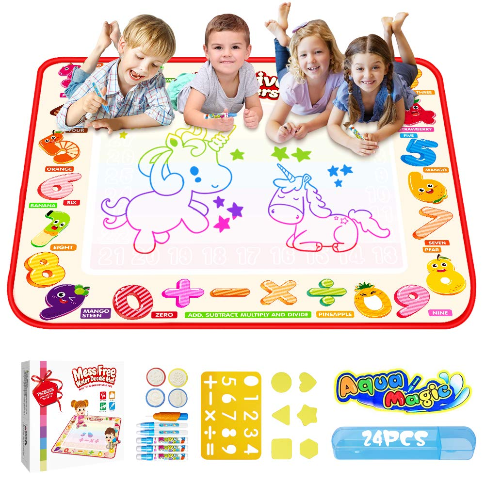 TECBOSS Aqua Magic Mat, Kids Painting Writing Doodle Board Toy, Colorful Water Drawing Pad Mess Free with Magic Pens Educational Girl Toys for Age 1 2 3 4 5 6 Year Old Girls Boys Toddler, Gift Box by TECBOSS