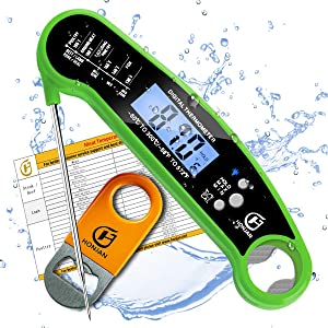 HONJAN Instant Read Meat Thermometer Digital Waterproof for Kitchen Cooking with Backlight and Calibration Feature(Green)