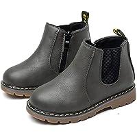 Rokiemen Botas para Niños Niños Impermeable Botas de Martin Invierno Zapatos de Chelsea con Cremallera para Exteriores