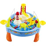 Toy Fishing Game Fish 'n Splash Water Pond Swirl With Music Table Fishing Game for Toddler Kids w/ Fishing Rods, Lights