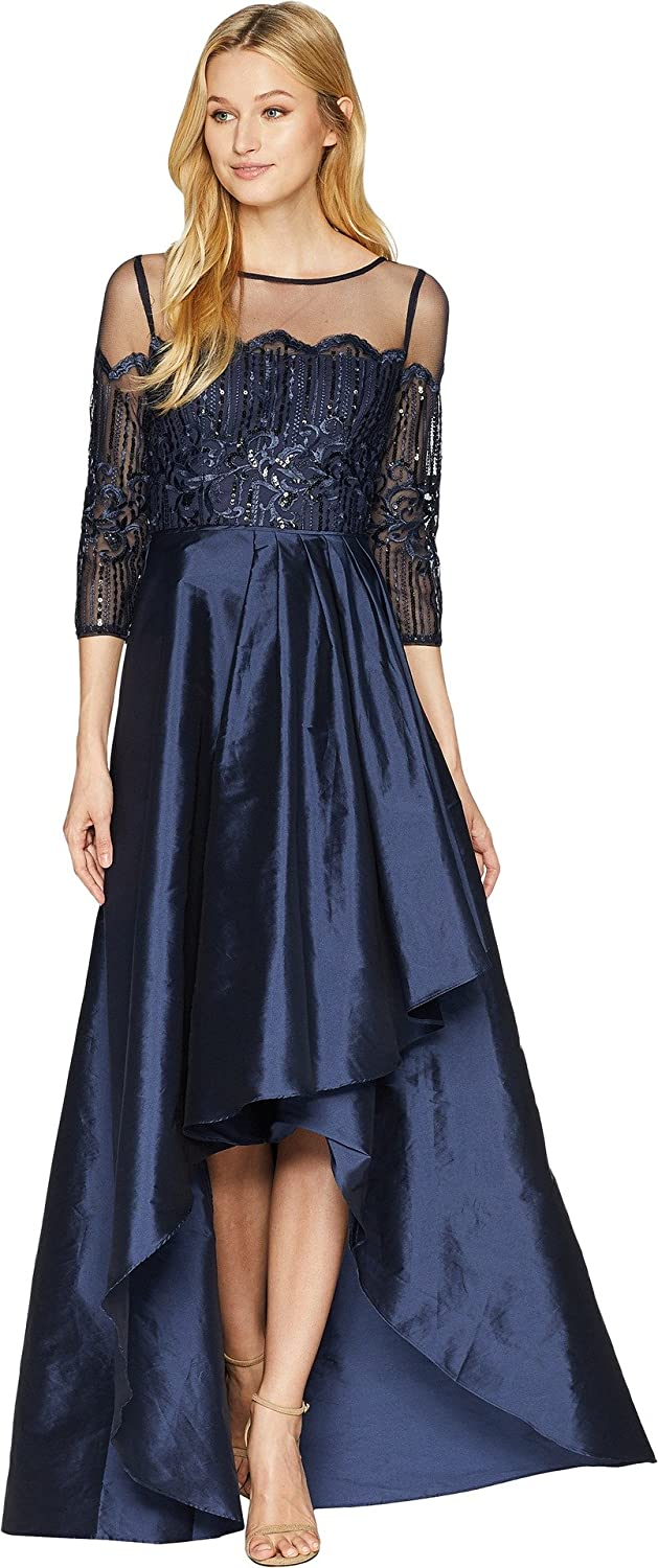 Top2  Adrianna Papell Womens Long Sleeve Lace Illusion Bodice with Taffeta  High-Low Cascade Skirt 75b03886a2a57