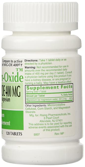 Amazon.com: MAGnesium Oxide 400 mg Dietary Supplement Tablets - 120 Tablets by Mag-Ox 400,3 pack: Health & Personal Care