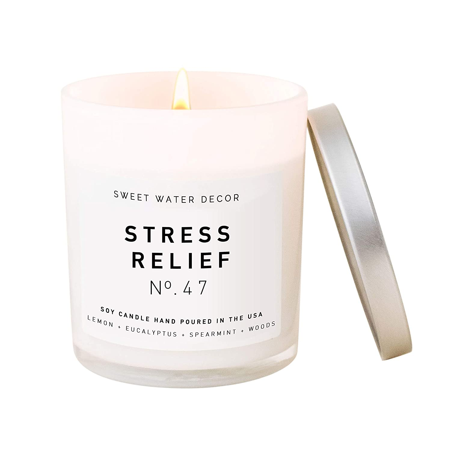 Sweet Water Decor Candle | Relaxing Spa Scented Soy Wax Candle for Home | 11oz White Glass Jar, 50 Hour Burn Time, Made in the USA (Stress Relief)
