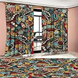 BarronTextile Doodle Window Curtain Drape Cinema Items Combined in an Abstract Style Popcorn Movie Reel The End Theatre Masks Decorative Curtains For Living Room Multicolor