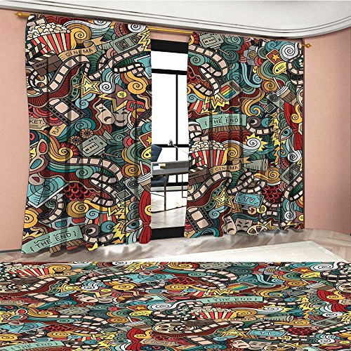 BarronTextile Doodle Window Curtain Drape Cinema Items Combined in an Abstract Style Popcorn Movie Reel The End Theatre Masks Decorative Curtains For Living Room Multicolor by BarronTextile