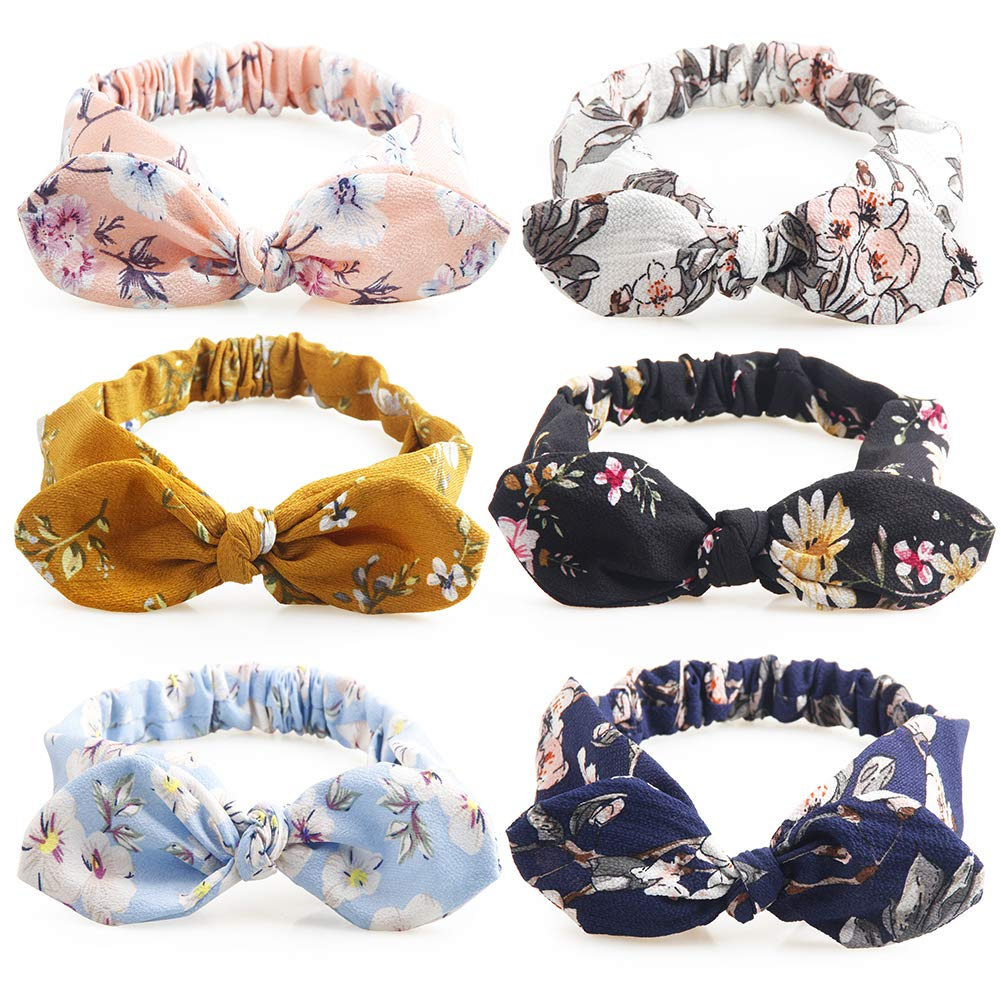 Girls BANDEAUX with a KNOT FLORAL PRINT bow rose headband Hair Band hairband NEW