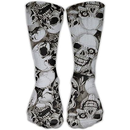 Ingregair - Calcetines unisex, diseño de calaveras vectoras, calaveras humanas, calcetines de fútbol
