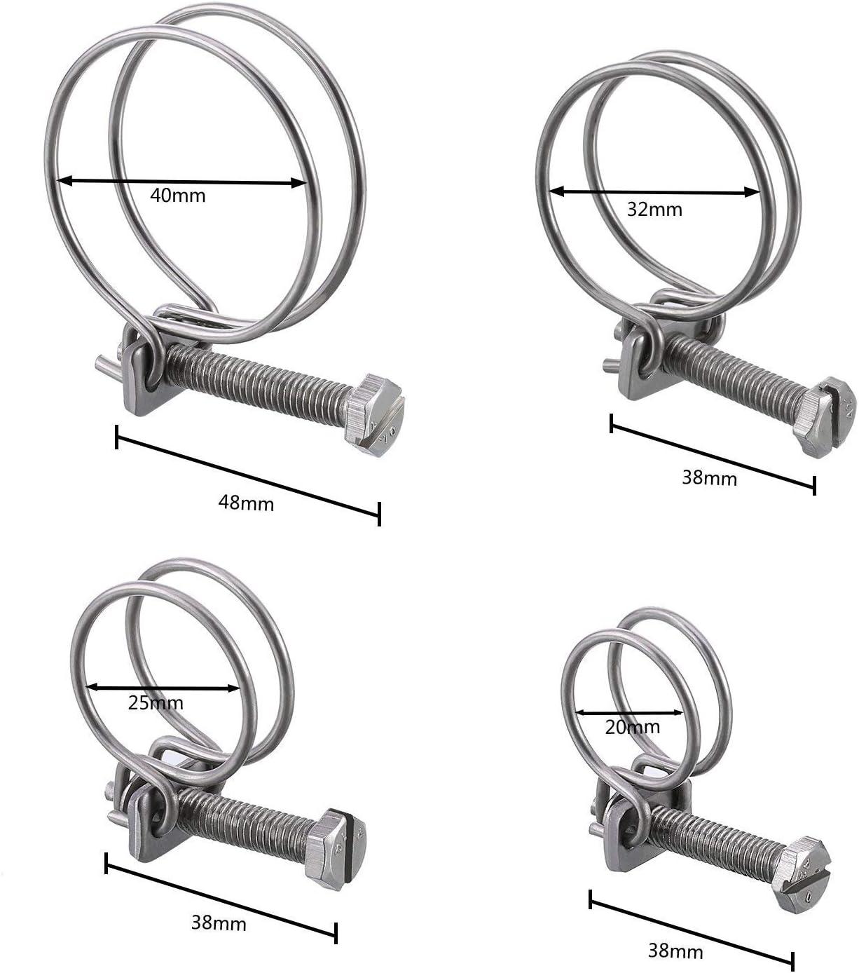40 mm 25 mm Sunnysam Lot de 12 colliers de serrage double fil 4 tailles pour tuyaux de 20 mm 32 mm