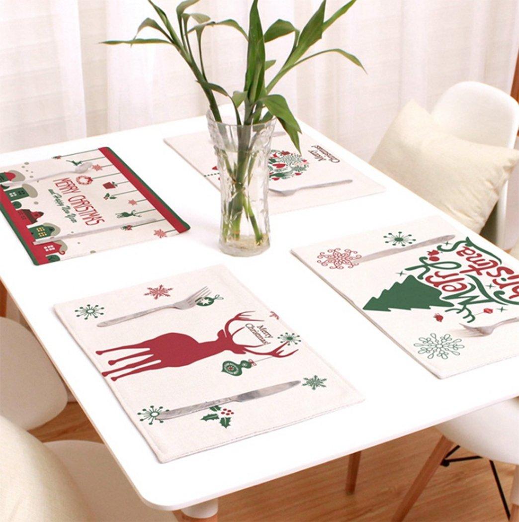 Hillentoクリスマス雪だるま、Elkテーブルマットプレースマットテーブルマット、ナプキン装飾カバーforキッチンHolidayパーティーホーム、4のパック PlaceMats02  Style2(4pcs) B076KL85Z1