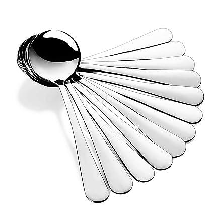 GerTong Juego de cucharas soperas de Acero Inoxidable, Forma Redonda, cucharas Grandes, 12 Unidades