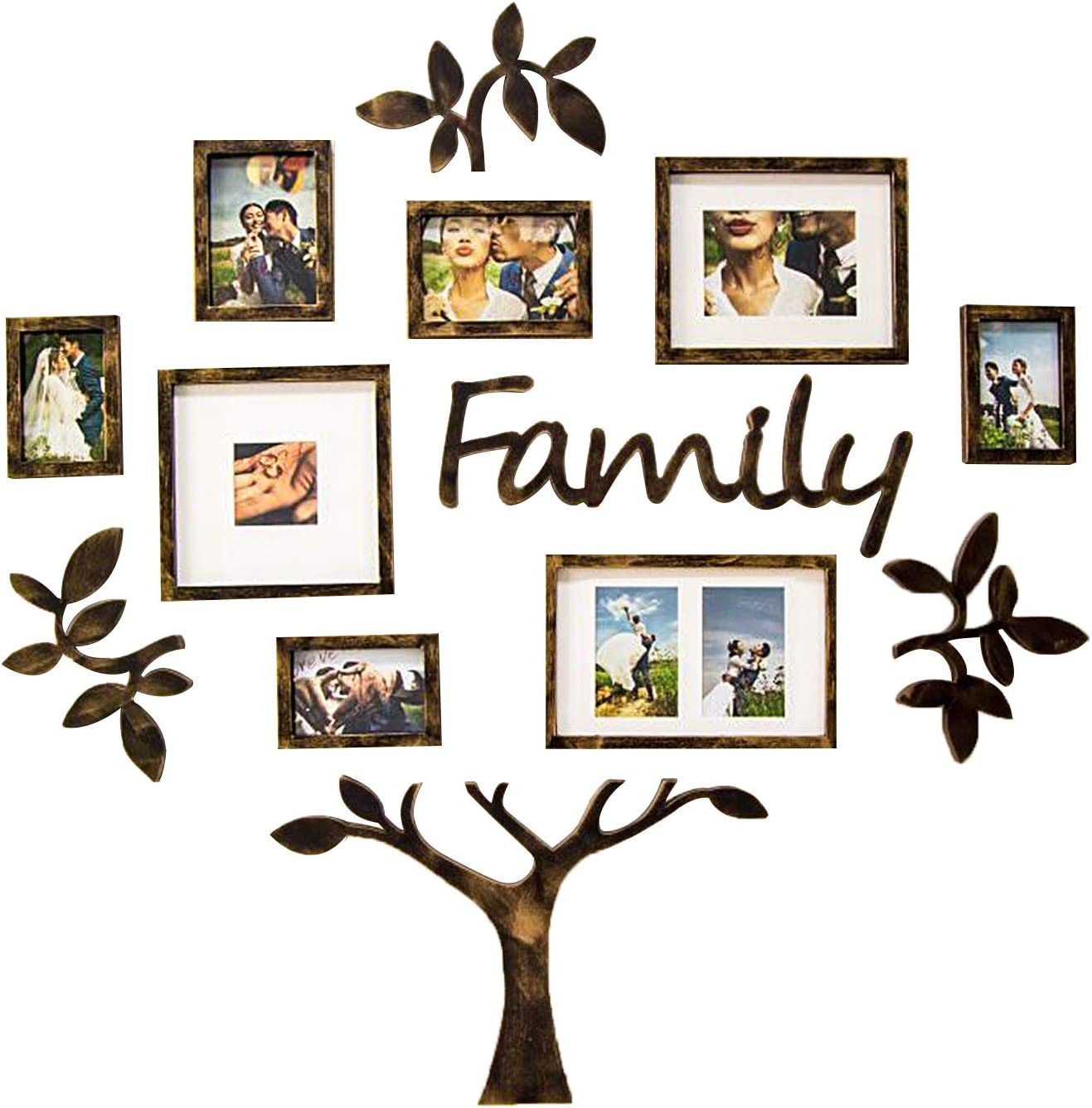 Jerry & Maggie - Photo Frame | Plaque College Frame - Wall Decoration Combination - Brown PVC Picture Frame Selfie Gallery Collage with Hanging Template & Wall Mounting Design | Family Tree