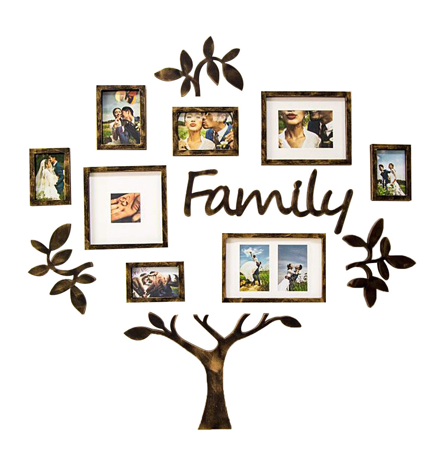Jerry & Maggie - Photo Frame | Plaque College Frame - Wall Decoration Combination - Brown PVC Picture Frame Selfie Gallery Collage with Hanging Template & Wall Mounting Design | Family Tree by Jerry & Maggie