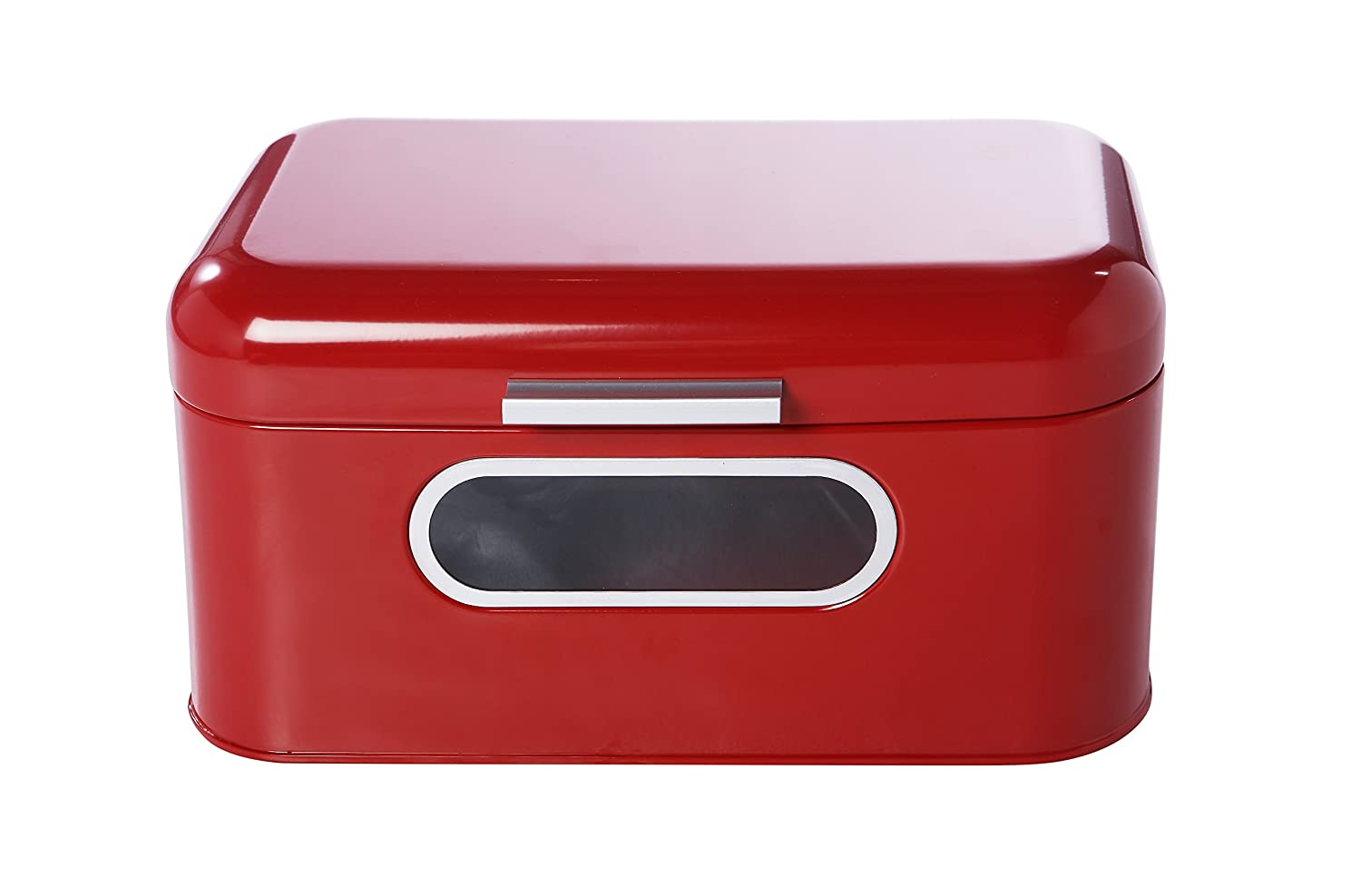 Bread Box for Kitchen Counter - Red Bread Bin, Retro Storage Container with Front Window, For Doughnuts, Pastries, Cookies - 12 x 7 x 6 Inches Juvale COMIN18JU039095